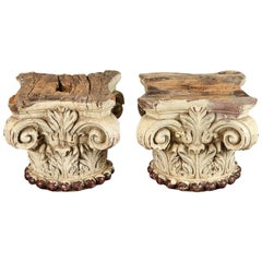 Pair of Ivory Painted Capitals from 19th Century, Italy