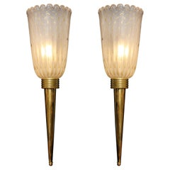"Pair of Ivory ""Pulegoso"" Murano Glass and Brass Torch Sconces, Italy"