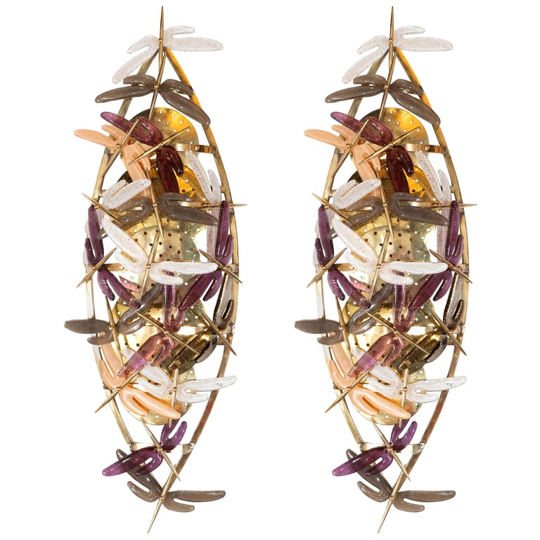 Pair of Ivory, Rose, Grey and Coral Murano Glass Dragonfly Sconces, Italy For Sale