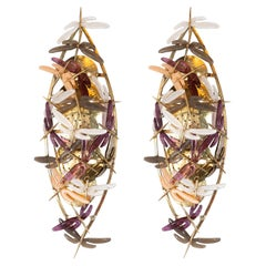 Pair of Ivory, Rose, Grey and Coral Murano Glass Dragonfly Sconces, Italy