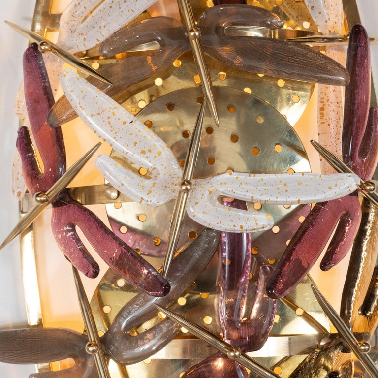 Pair of Ivory, Rose, Grey and Coral Murano Glass Dragonfly Sconces, Italy In New Condition For Sale In New York, NY