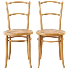 Pair of J. and J. Kohn Austrian Bentwood and Cane Chairs