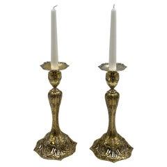 Pair of J. E. Caldwell Gilt Sterling Silver Candlesticks