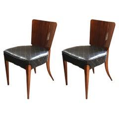 Pair of J. Halabala H214 Chairs, Walnut, Faux Leather, Czech, 1930s