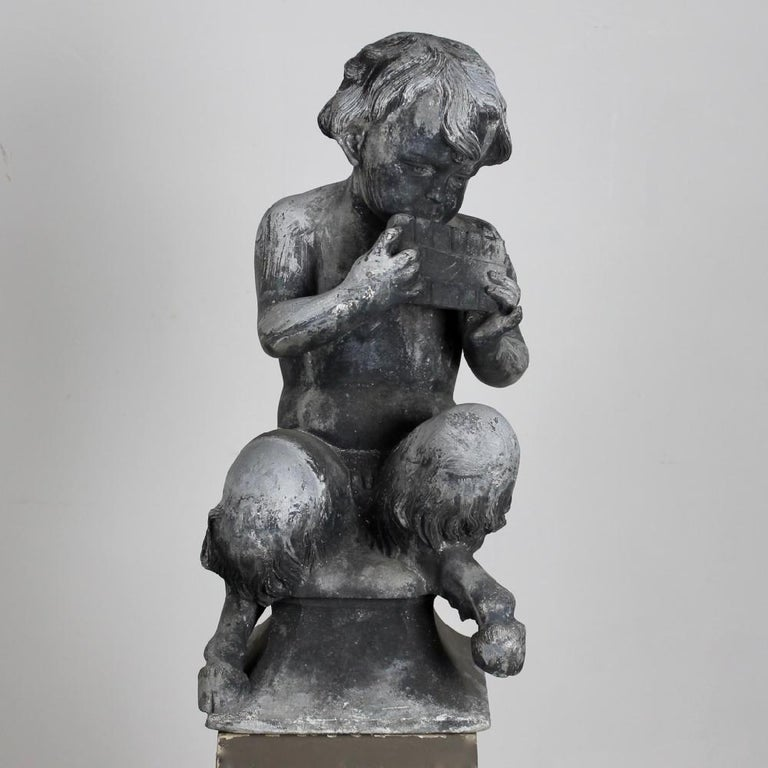 British Pair of J P White Lead Garden Figures of Satyr Musicians For Sale