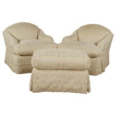 Pair of J. Robert Scott Upholstered Club Chairs and Matching Ottoman