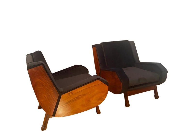 Pair of very comfortable and architectural club armchairs in jacaranda. Geometric Italian design, with black velvet upholstery.