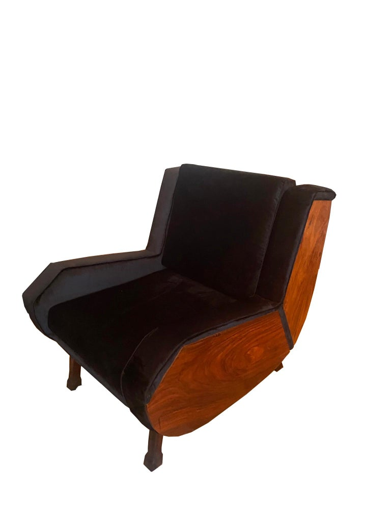 Mid-Century Modern Pair of Jacaranda Armchairs, Italy, 1960s For Sale