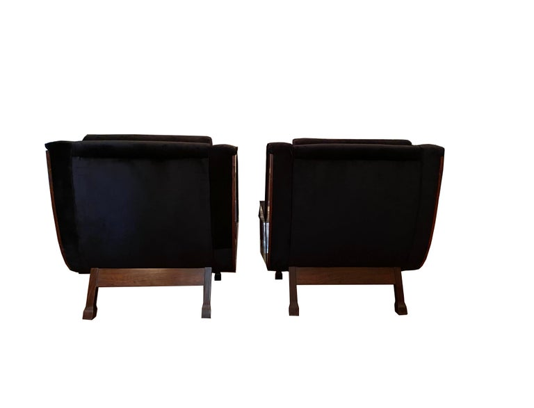 Mid-20th Century Pair of Jacaranda Armchairs, Italy, 1960s For Sale