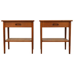 Pair of Jack Cartwright for Founders Walnut and Cane Nightstands or Side Tables