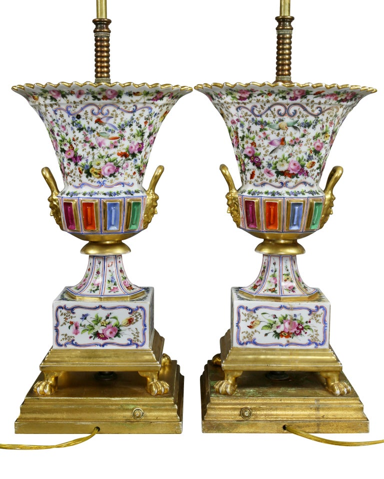 Pair of Jacob Petit Porcelain Vases Mounted as Lamps For Sale 4
