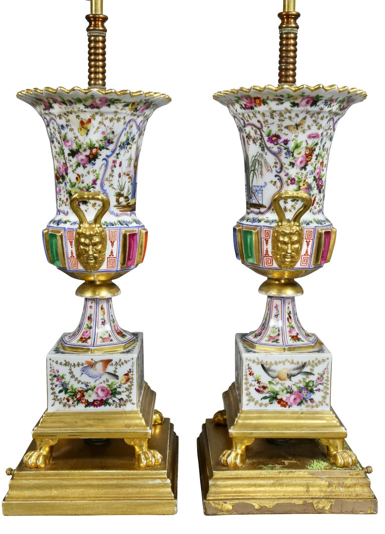 Pair of Jacob Petit Porcelain Vases Mounted as Lamps For Sale 1