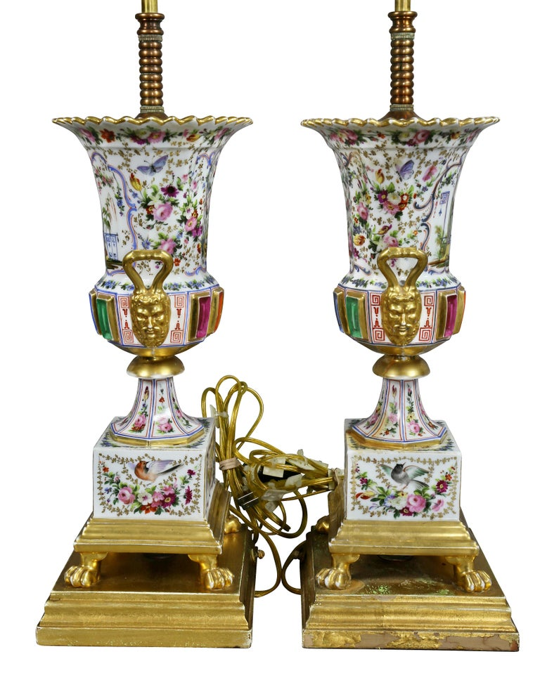 Pair of Jacob Petit Porcelain Vases Mounted as Lamps For Sale 3
