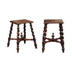 Pair of Jacobean Style Carved Oak Barley Twist Stools, Early 19th Century