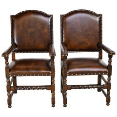 Pair of Jacobean-Style Oak Dining Armchairs with Leather Upholstery, Belgium