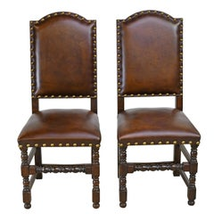 Pair of Jacobean Style Oak Dining Chairs with Leather Upholstery, Belgium