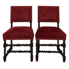 Pair of Jacobean Upholstered Side Chairs