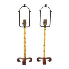 Pair of Jacques Adnet Bamboo Table Lamps