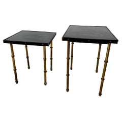 Pair of Jacques Adnet Leather and Brass Nesting Tables