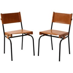 Pair of Jacques Adnet Leather Dining Chairs
