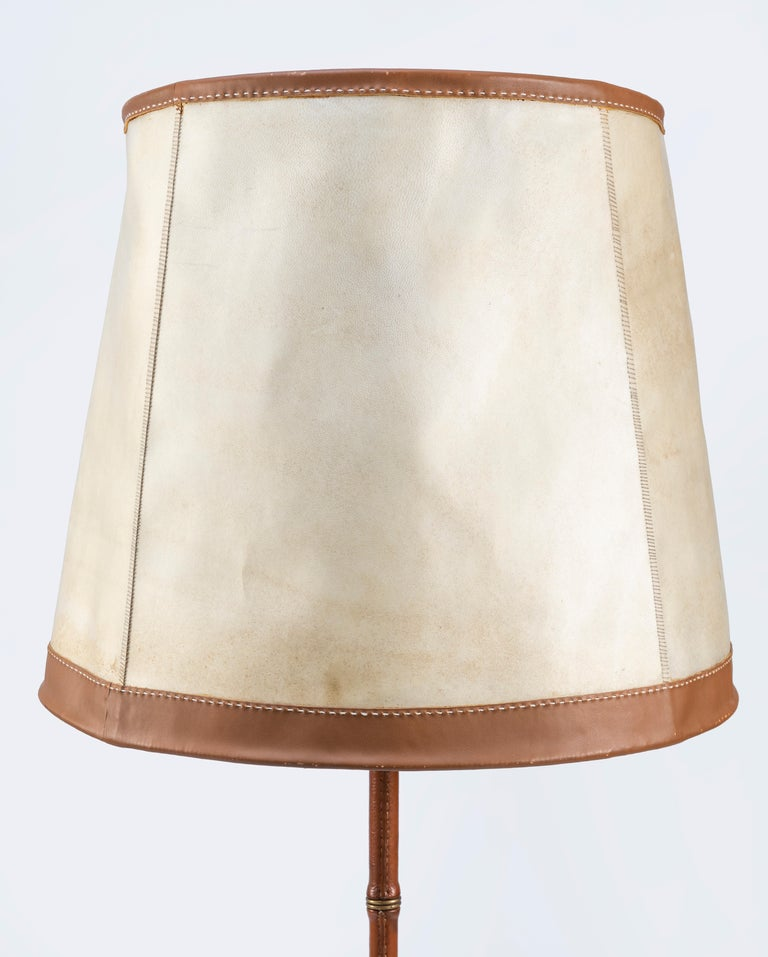 Pair of Jacques Adnet Leather Floor Lamps For Sale 4