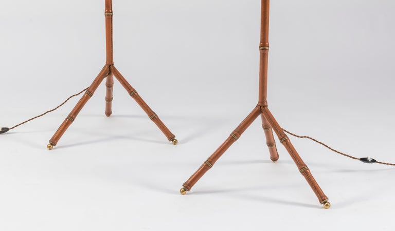 Mid-Century Modern Pair of Jacques Adnet Leather Floor Lamps For Sale