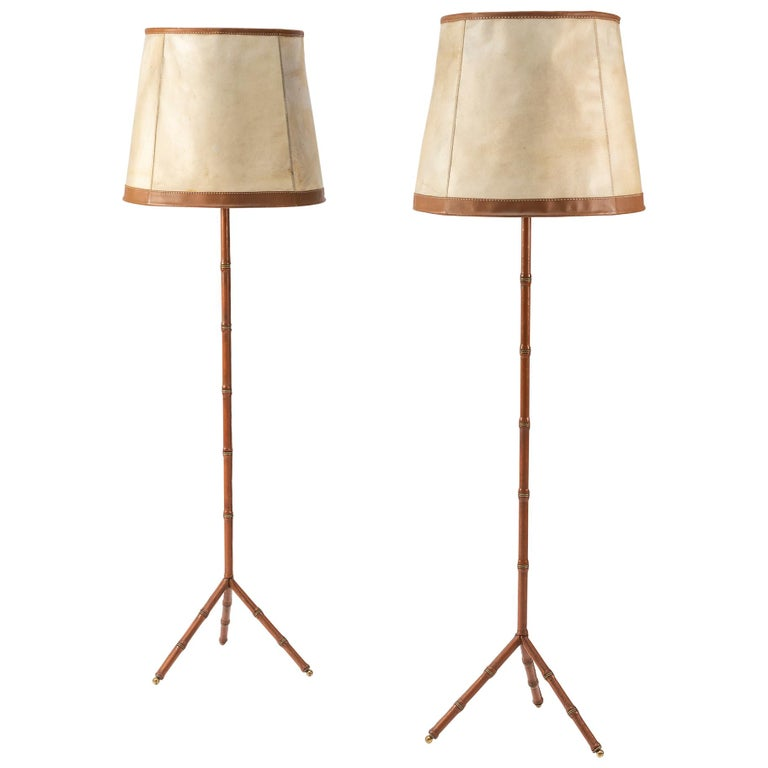 Pair of Jacques Adnet Leather Floor Lamps For Sale