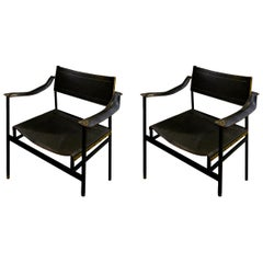 Pair of Jacques Adnet Leather Lounge Chairs, circa 1940s-1950s, France