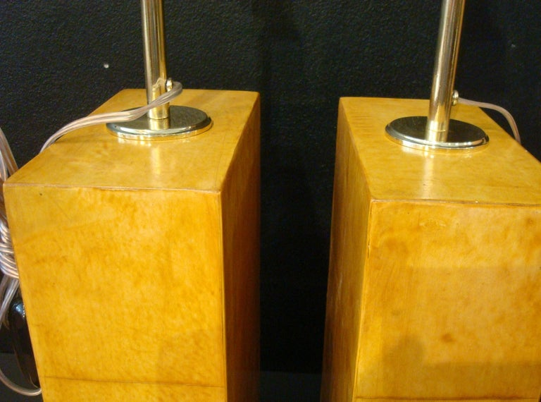 Art Deco Pair of Jacques Adnet Parchment Leather Table Lamps, France, circa 1930s For Sale