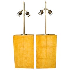 Pair of Jacques Adnet Parchment Leather Table Lamps, France, circa 1930s
