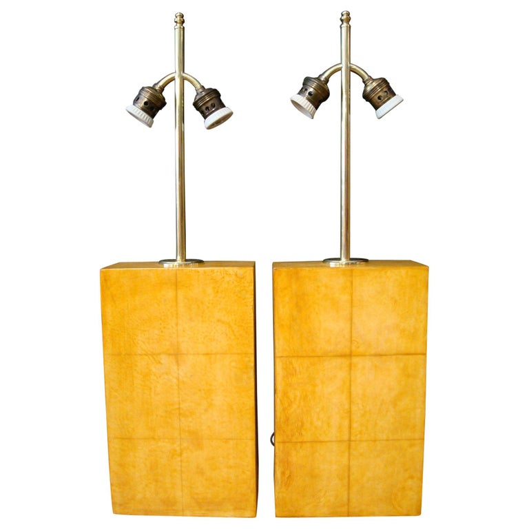 Pair of Jacques Adnet Parchment Leather Table Lamps, France, circa 1930s For Sale