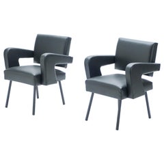 """Pair of Jacques Adnet """"President"""" Leatherette Armchairs, 1959"""