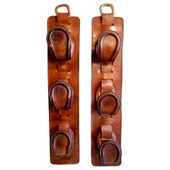 Pair of Jacques Adnet Saddle Leather Hooks