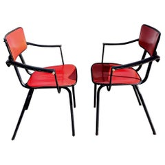 Pair of Jacques Adnet Side Chairs, 1960s