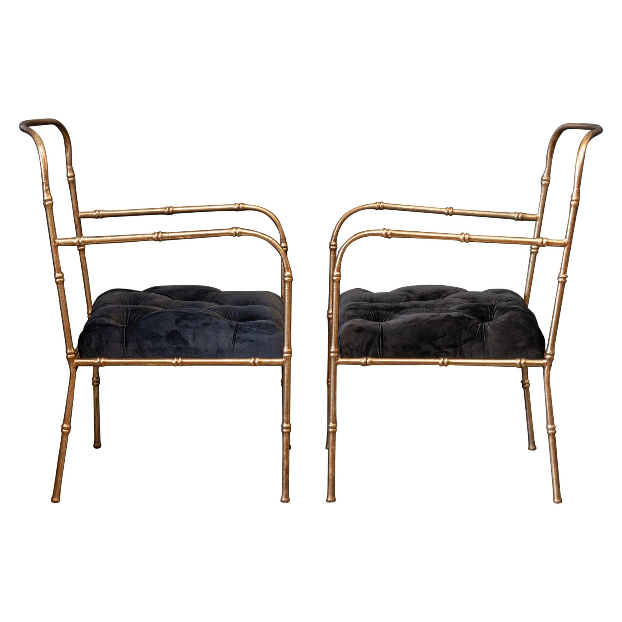 Pair of Jacques Adnet Style Faux Bamboo Gilt Iron Armchairs