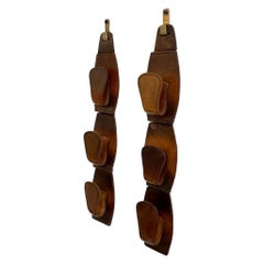 Pair of Jacques Adnet Style Saddle Leather Wall Hooks