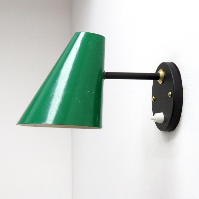 Mid-Century Modern Pair of Jacques Biny Wall Lamps, 1950 For Sale