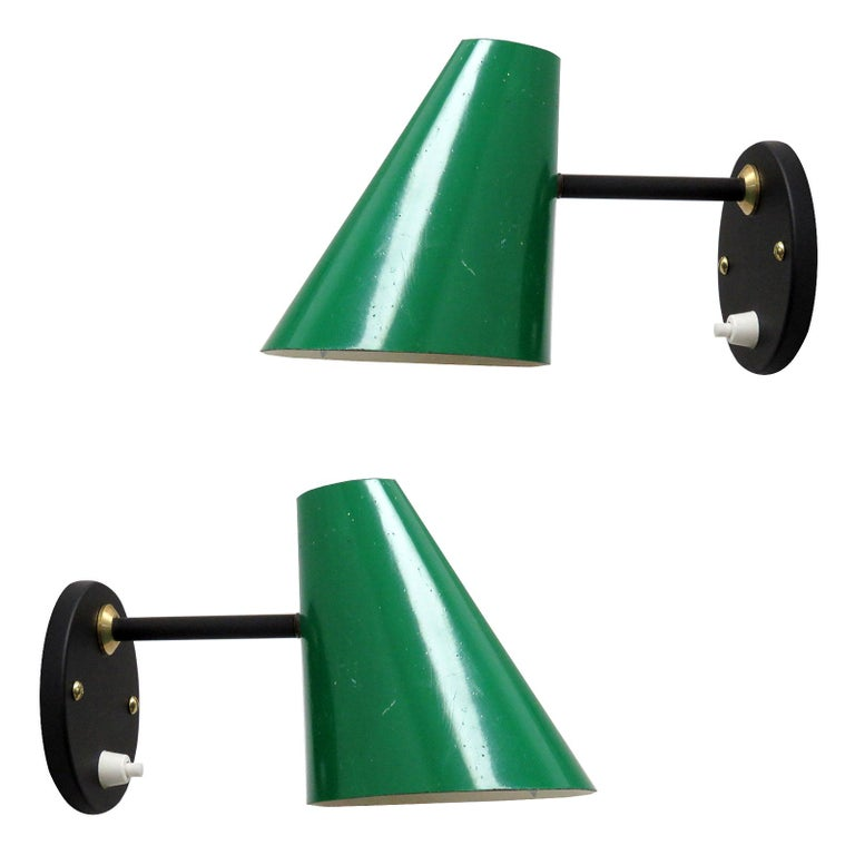 Pair of Jacques Biny Wall Lamps, 1950 For Sale