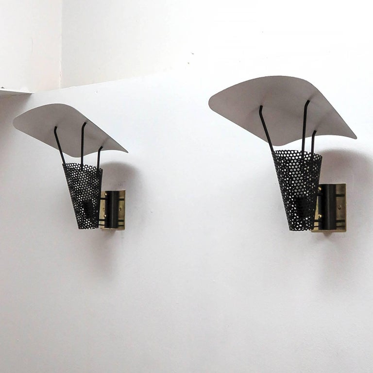 Pair of Jacques Biny Wall Lights, 1950 In Good Condition For Sale In Los Angeles, CA