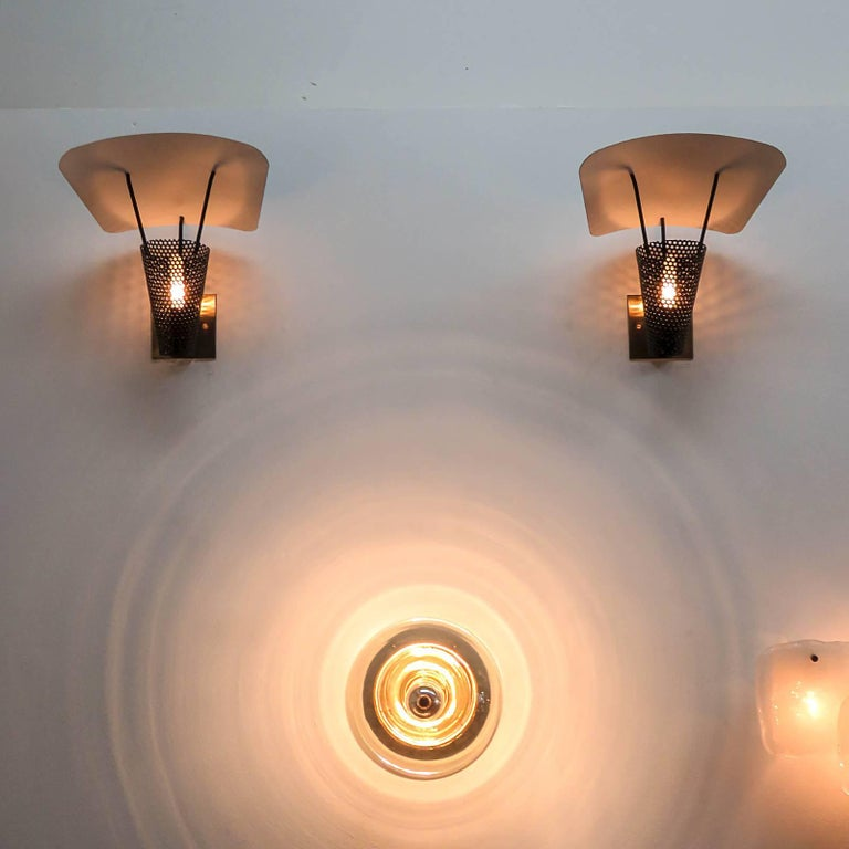 Metal Pair of Jacques Biny Wall Lights, 1950 For Sale