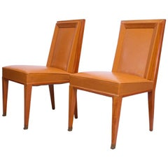 Pair of Jacques Quinet Occasional Chairs in Leather and Mahogany