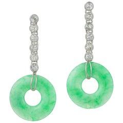 Pair of Jade and Diamond Drop Earrings