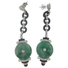 Pair of Jade and Onyx Earrings with 90 White Round Diamonds