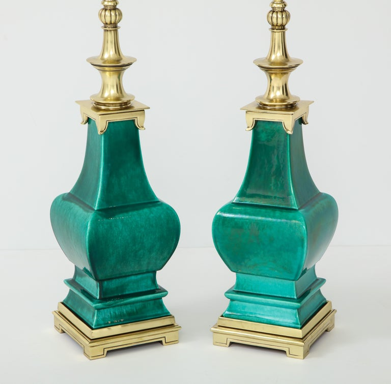 Chinoiserie Pair of Jade Green Ceramic Lamps by Stiffel For Sale