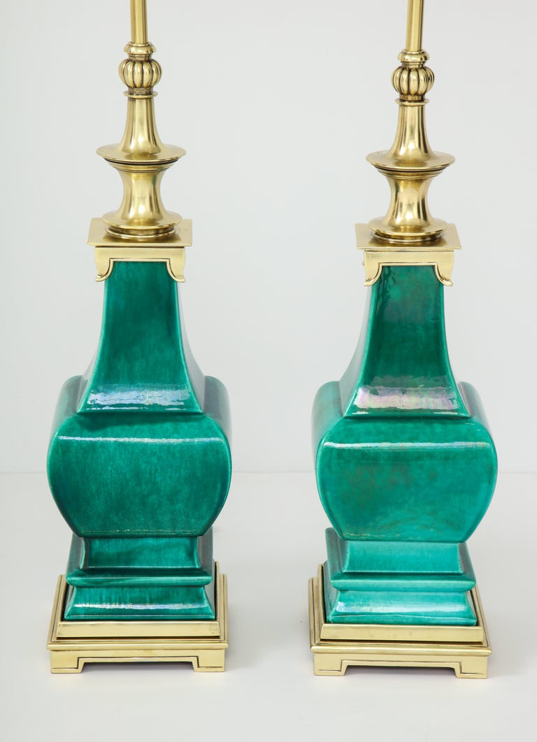 American Pair of Jade Green Ceramic Lamps by Stiffel For Sale