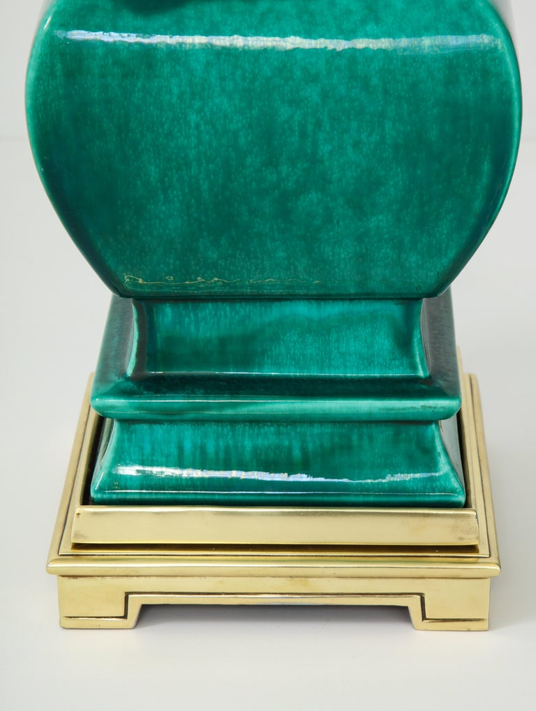 Mid-20th Century Pair of Jade Green Ceramic Lamps by Stiffel For Sale