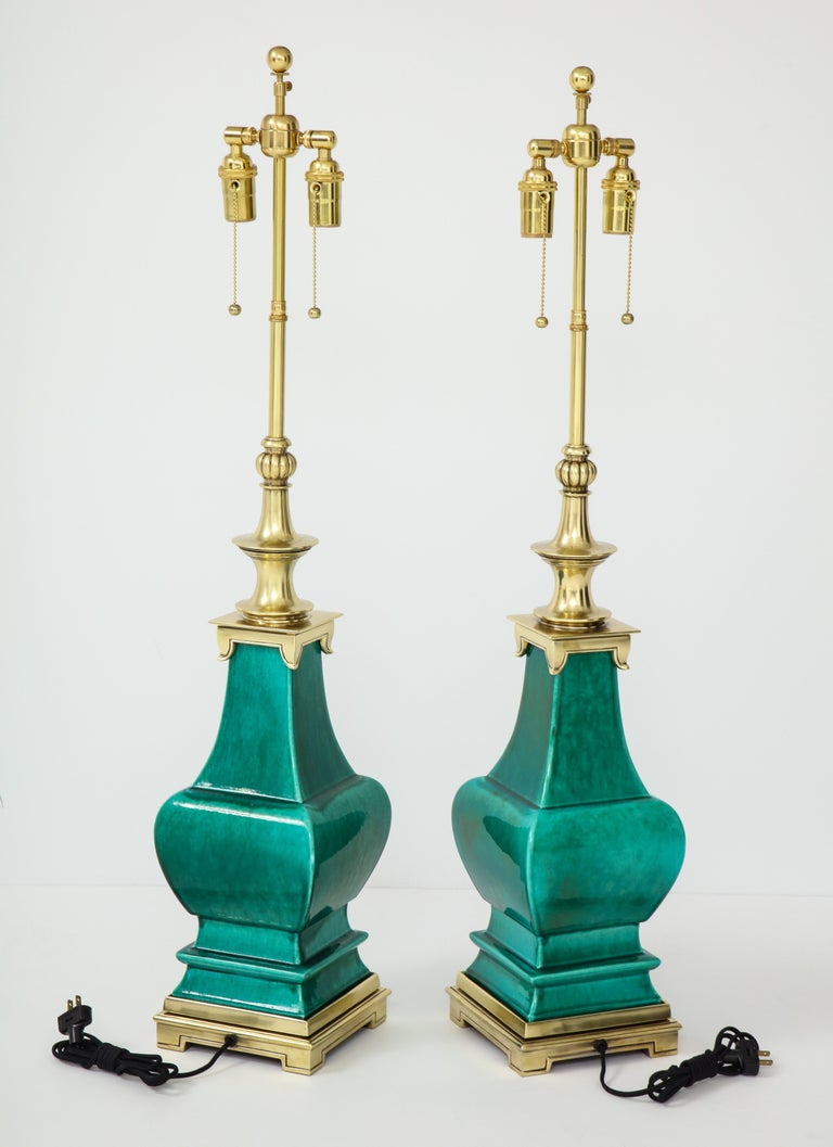 Pair of Jade Green Ceramic Lamps by Stiffel For Sale 1