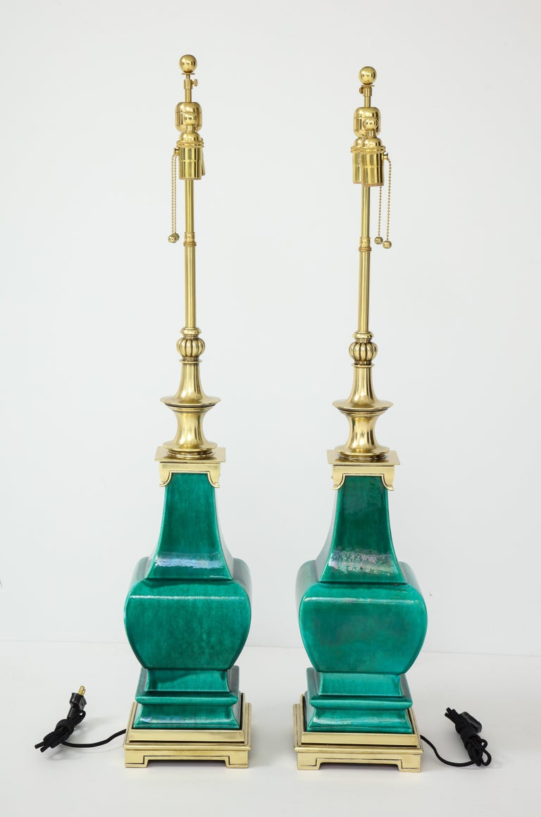 Pair of Jade Green Ceramic Lamps by Stiffel For Sale 2