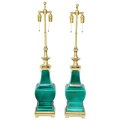 Pair of Jade Green Ceramic Lamps by Stiffel