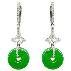 A Pair of Imperial Jadeite and Diamond Earrings in 18 Karat White Gold